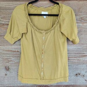 Short Sleeve Yellow Deletta Top w/ Emb Placket XS